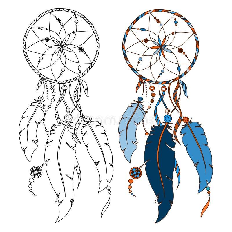 Dreamcatcher Ινδικό catcher ονείρου αμερικανών ιθαγενών, παραδοσιακό διανυσματική απεικόνιση
