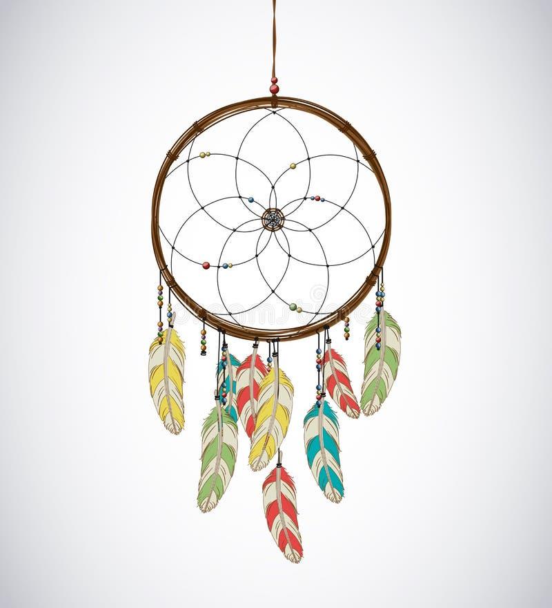 Dreamcatcher με τα φτερά και το διακοσμημένο με χάντρες νήμα Eethnic αζτέκικα, δραχμές απεικόνιση αποθεμάτων