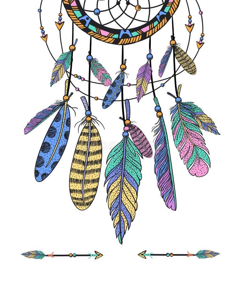 Dreamcatcher, φτερά συρμένο διάνυσμα χεριών ελεύθερη απεικόνιση δικαιώματος