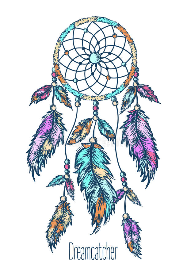 Dreamcatcher, φτερά συρμένο χέρι διανυσματική απεικόνιση