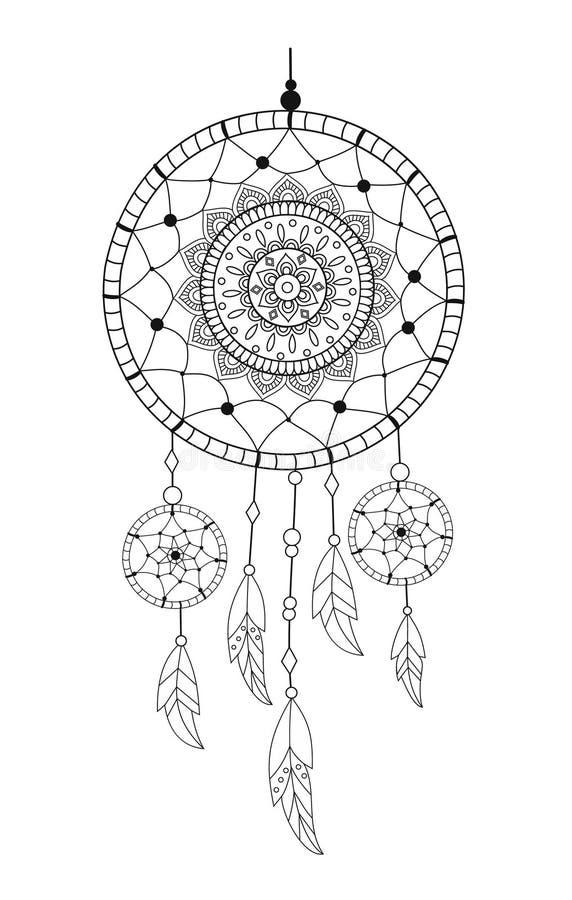 Dreamcatcher с драгоценными камнями и пер Этническая иллюстрация вектора иллюстрация вектора