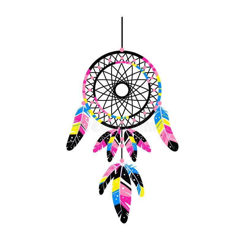 Dreamcatcher с пер, драгоценными камнями Карточка с искусством, астрологией, духовностью, волшебным символом Этнический племенной бесплатная иллюстрация