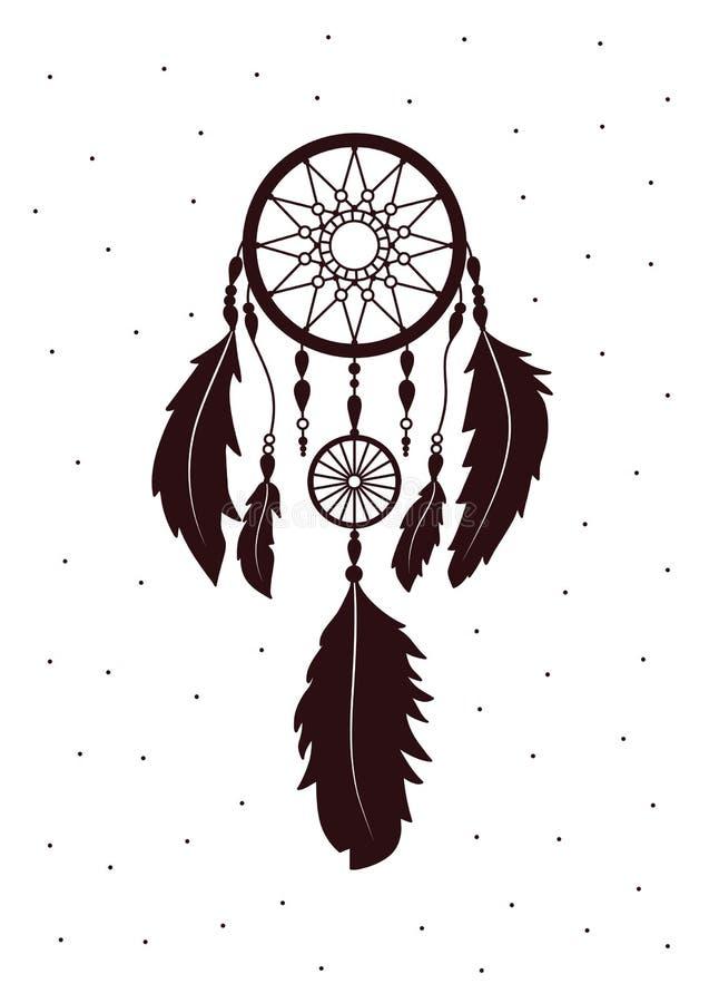 Dreamcatcher с пер Этническое искусство с коренным американцем Indi бесплатная иллюстрация