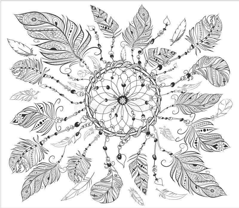 Dreamcatcher с различными пер для крася страницы Вручите вычерченную винтажную иллюстрацию для взрослой расцветки анти--стресса иллюстрация вектора