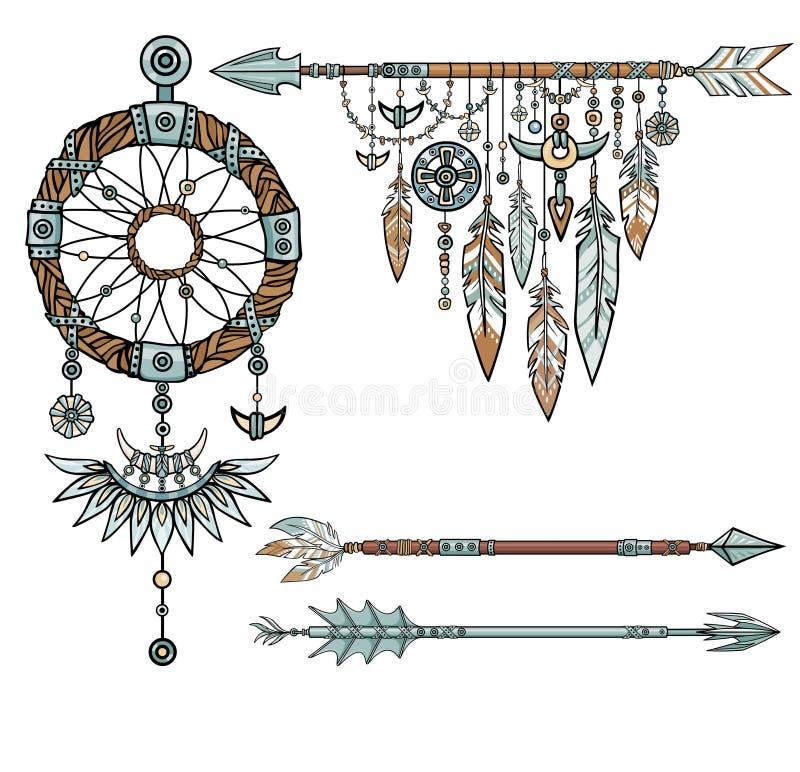Dreamcatcher талисмана коренного американца индийское с пер иллюстрация штока