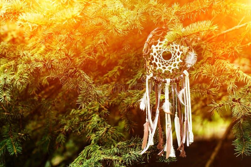Dreamcatcher amerikansk infödd amulett på solnedgång shaman royaltyfria bilder