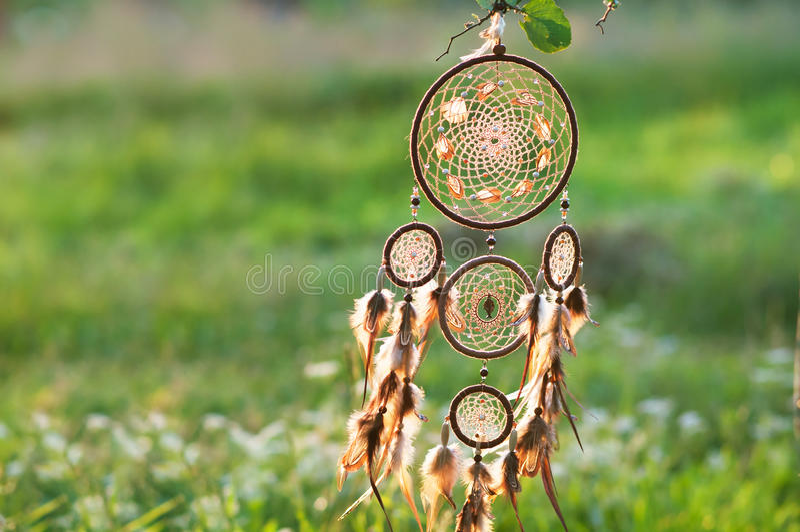 Dreamcatcher amerikansk infödd amulett shaman royaltyfri bild