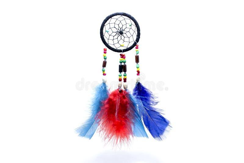 Dreamcatcher, amerykański rodzimy amulet na białym tle zdjęcie royalty free