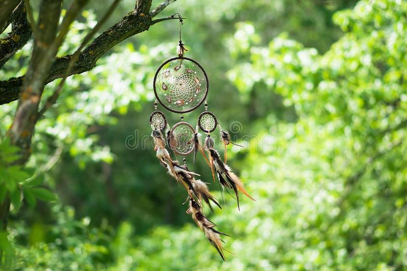 Dreamcatcher andlig folk amerikansk infödd indisk amulett shaman royaltyfria bilder
