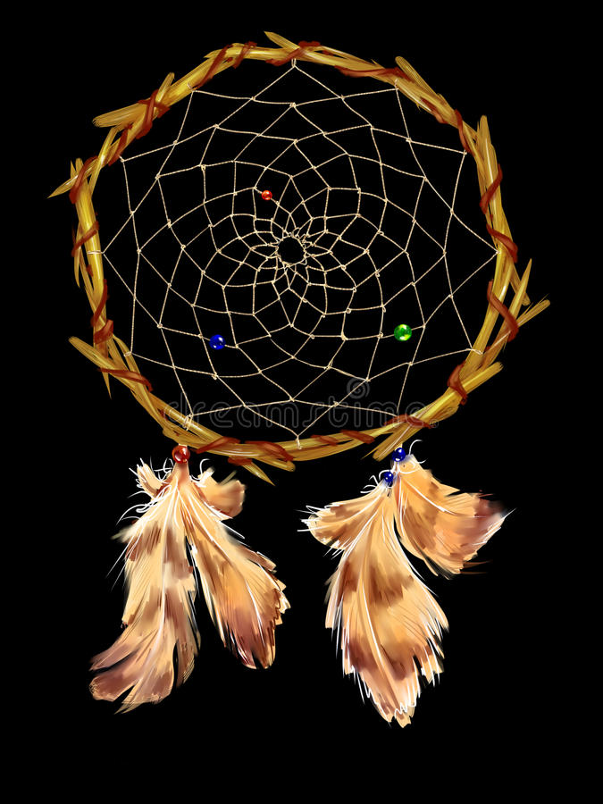 Dreamcatcher avec des perles et des plumes illustration stock