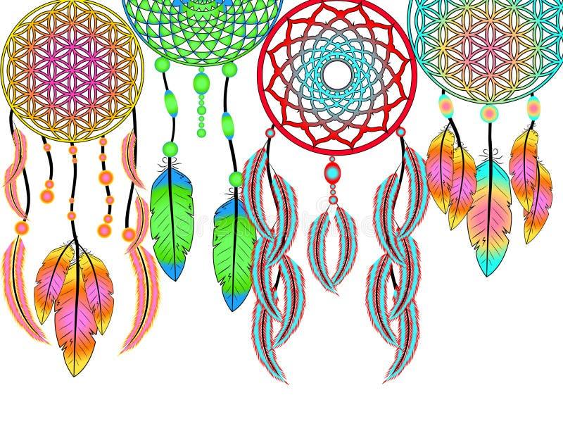 Dreamcatcher avec des plumes illustration stock