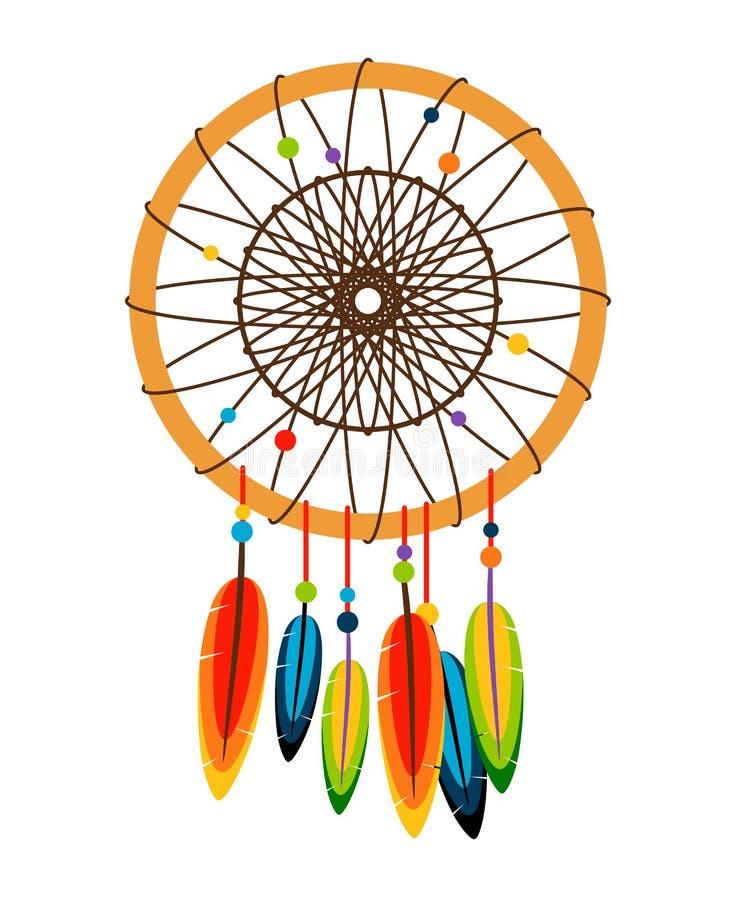 Dreamcatcher avec des plumes et des perles illustration de vecteur