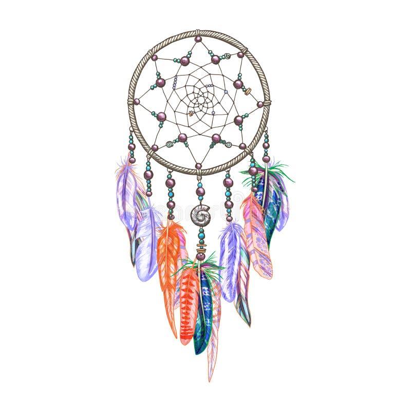 Dreamcatcher coloré et plumes d'isolement sur le fond blanc Amulette indienne indigène Illustration colorée de vecteur illustration de vecteur