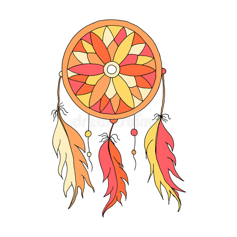 Dreamcatcher color hand to draw royalty free illustration