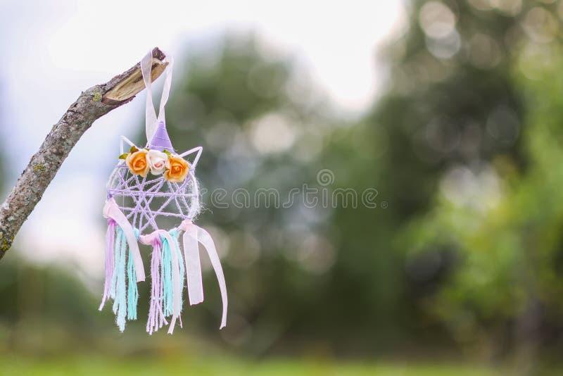 Dreamcatcher colorido en fondo de la naturaleza del verano Decoración hecha a mano hecha de plumas, de cintas, de hilos y de gota imagenes de archivo