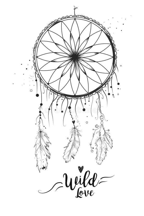 Dreamcatcher com pena de pássaro perla o laço & os pontos Bea tirado mão ilustração royalty free