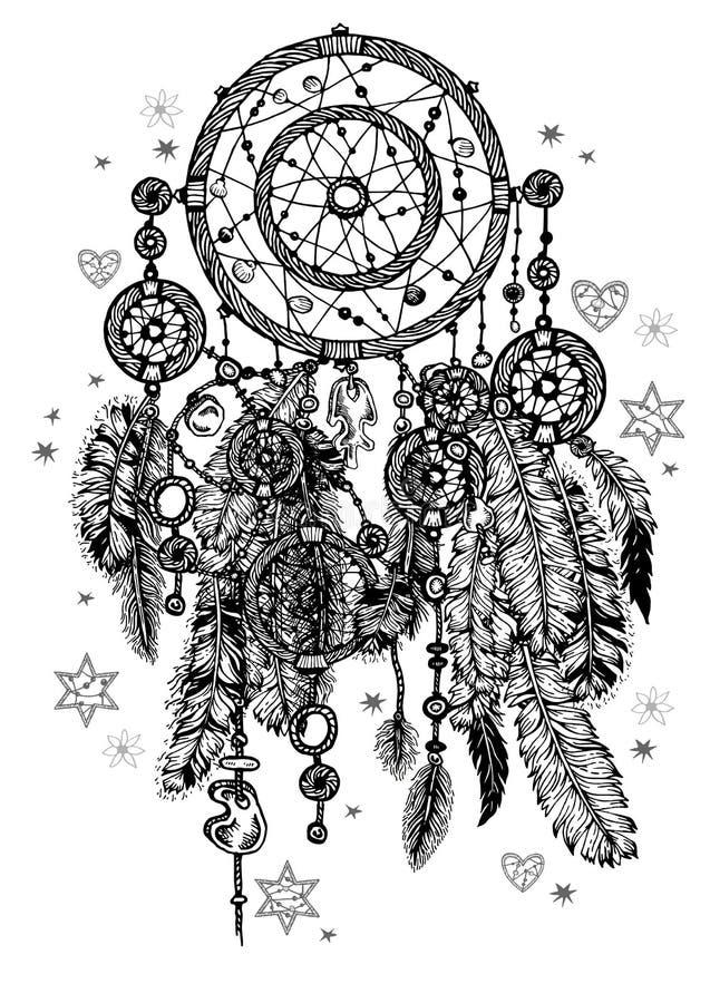 Dreamcatcher détaillé de vintage avec des plumes illustration de vecteur