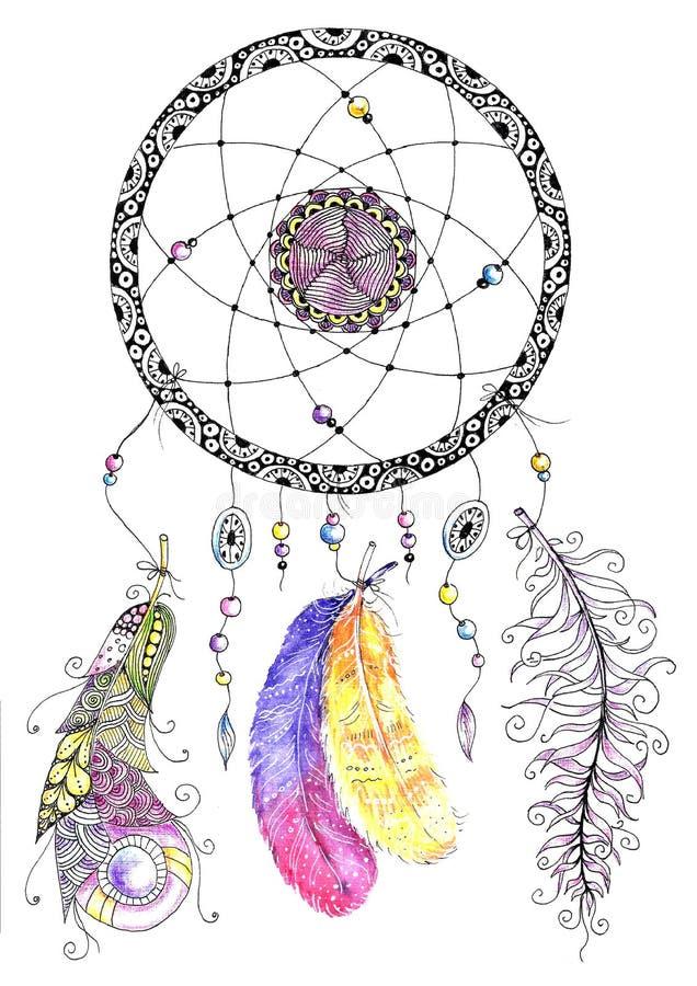 Dreamcatcher d'aquarelle avec des perles et des plumes illustration stock