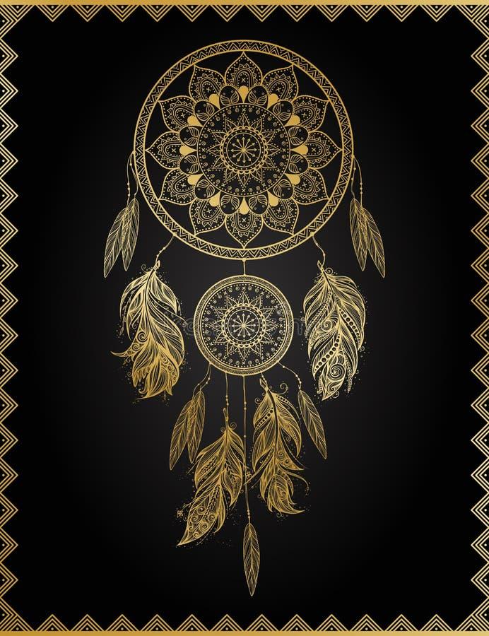 Dreamcatcher d'or, illustration de vecteur illustration stock