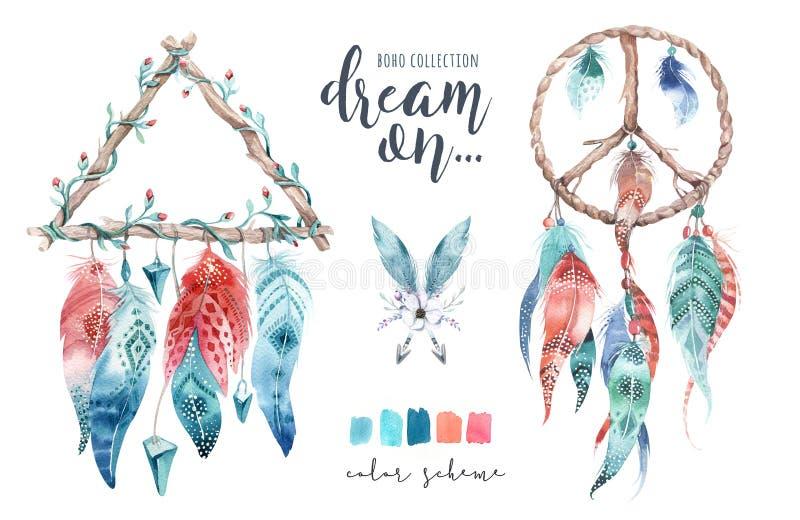 Dreamcatcher d'isolement de bohémien de décoration d'aquarelle illustration stock