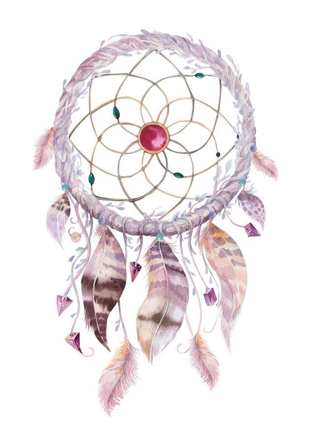 Dreamcatcher d'isolement de bohémien de décoration d'aquarelle illustration de vecteur