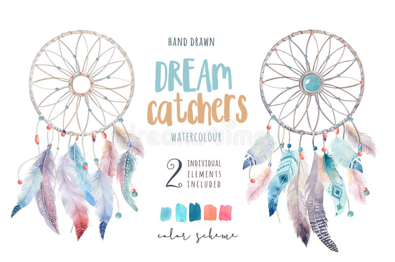 Dreamcatcher d'isolement de bohémien de décoration d'aquarelle Feath de Boho illustration libre de droits