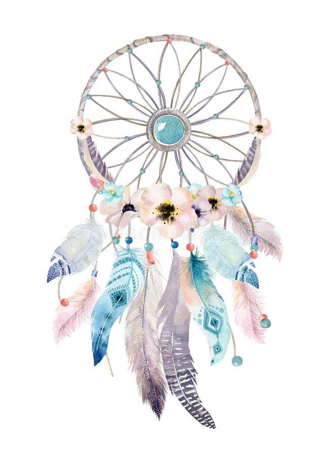 Dreamcatcher d'isolement de bohémien de décoration d'aquarelle Feath de Boho illustration stock