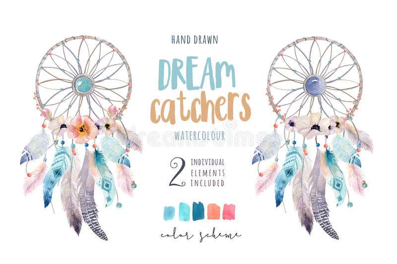 Dreamcatcher d'isolement de bohémien de décoration d'aquarelle Feath de Boho illustration stock