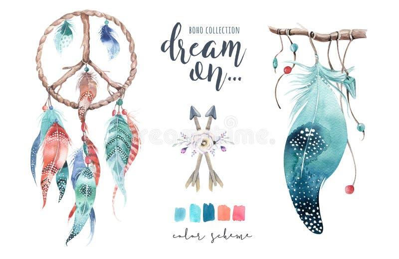 Dreamcatcher d'isolement de bohémien de décoration d'aquarelle Feath de Boho illustration libre de droits
