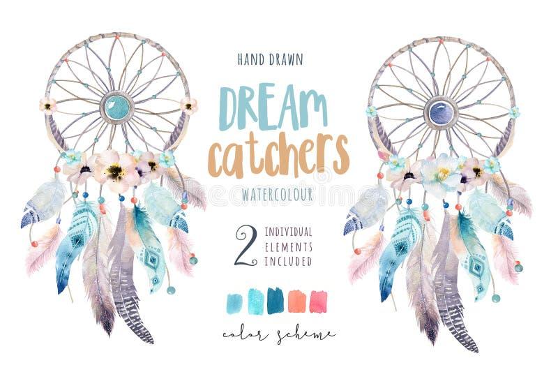 Dreamcatcher d'isolement de bohémien de décoration d'aquarelle Feath de Boho illustration de vecteur
