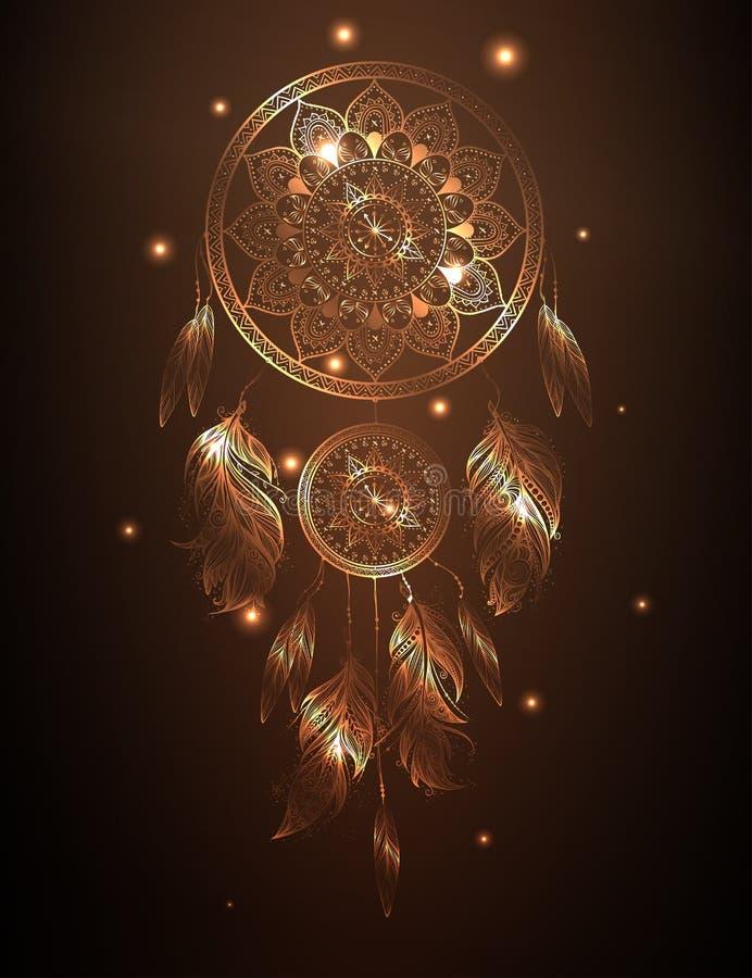 Dreamcatcher dans le gradient d'or, illustration de vecteur illustration libre de droits