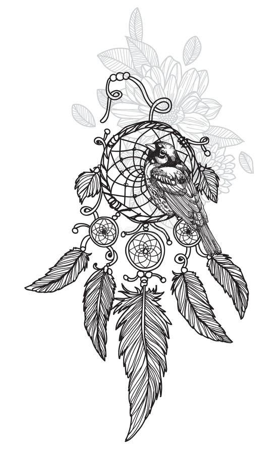 Dreamcatcher de dessin de main d'art de tatouage noir et blanc illustration libre de droits