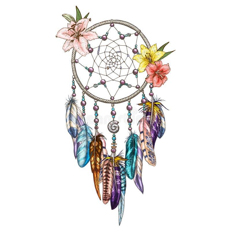 Dreamcatcher decorato disegnato a mano con i fiori del giglio Astrologia, spiritualità, simbolo magico Elemento tribale etnico royalty illustrazione gratis