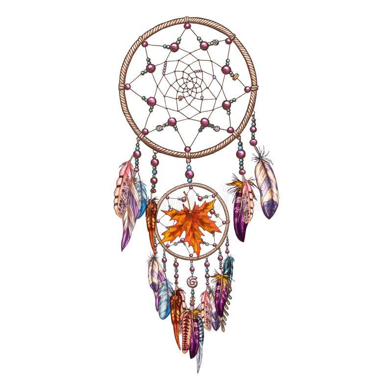 Dreamcatcher decorato disegnato a mano con le piume e le foglie di autunno Simbolo magico, elemento tribale etnico Illustrazione  illustrazione di stock