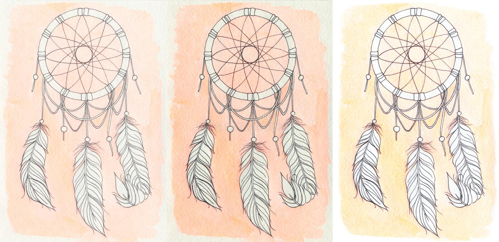 Dreamcatcher dessiné avec l'aquarelle et le stylo illustration libre de droits