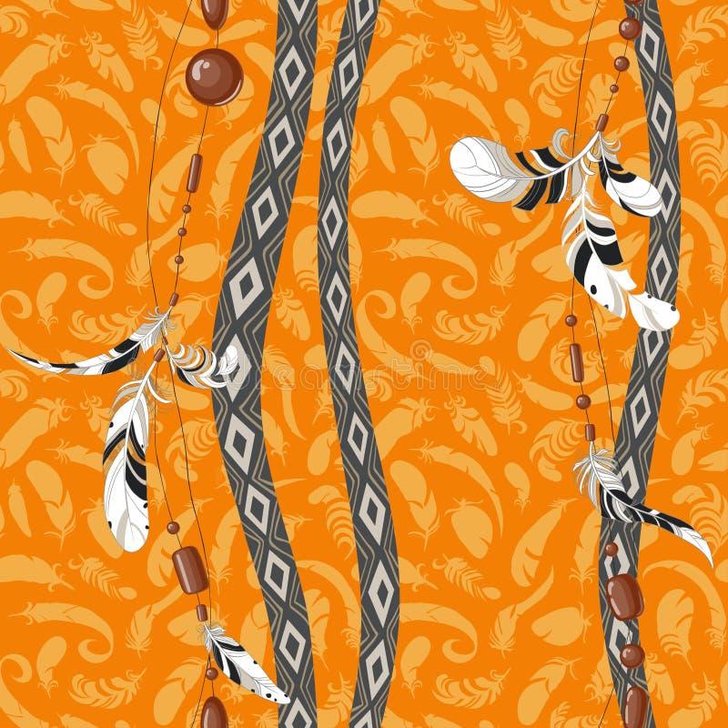 Dreamcatcher empluma el modelo anaranjado del fondo libre illustration