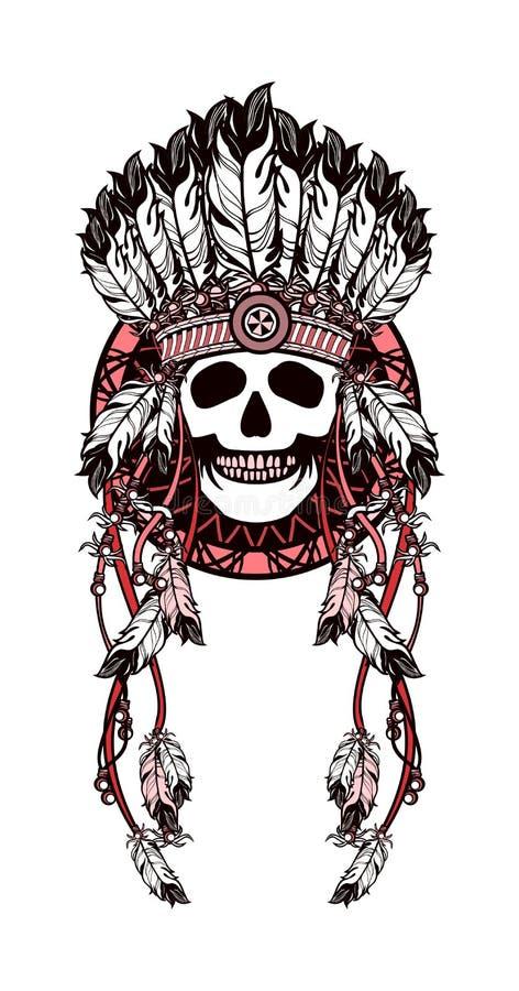 Dreamcatcher et crâne illustration libre de droits