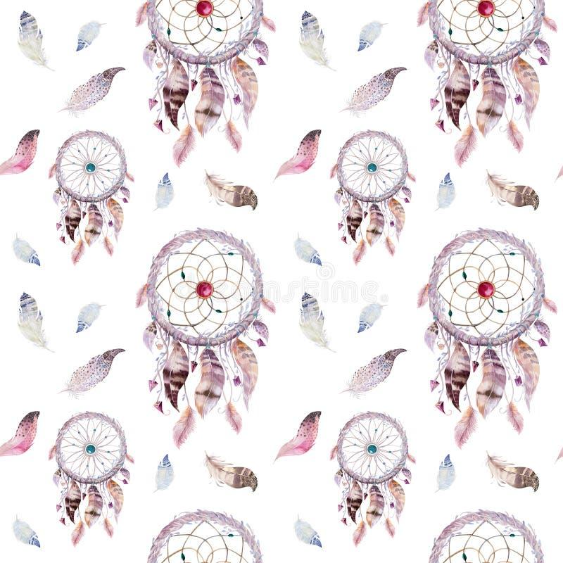 Dreamcatcher et modèle de plume Décoration de bohémien d'aquarelle illustration libre de droits