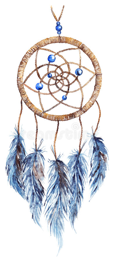 Dreamcatcher fabriqué à la main tribal ethnique de plume d'aquarelle d'isolement illustration de vecteur