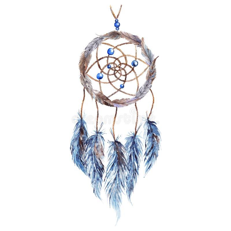 Dreamcatcher fatto a mano tribale etnico della piuma dell'acquerello illustrazione di stock