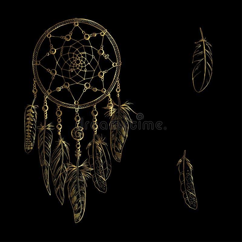 Dreamcatcher fleuri luxary d'or avec des plumes, pierres gemmes Astrologie, spiritualité, symbole magique Élément tribal ethnique illustration stock