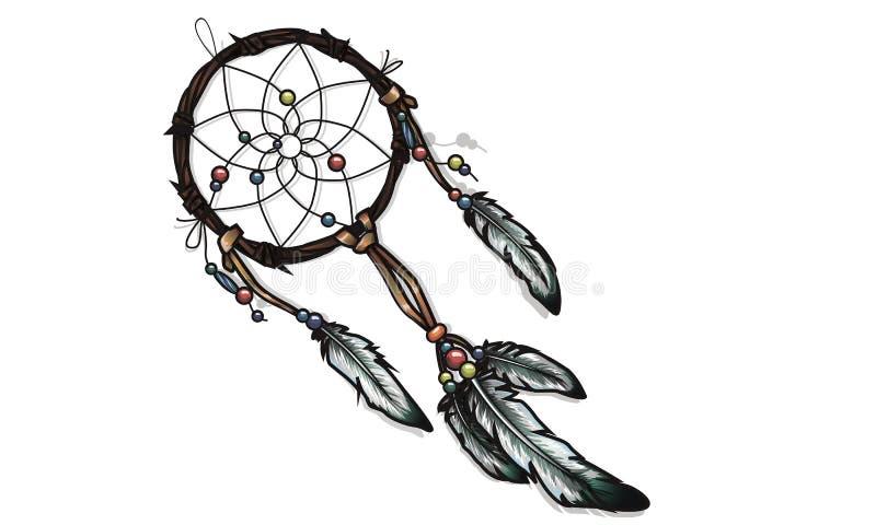 Dreamcatcher fleuri tiré par la main avec des plumes, pierres gemmes WI de carte illustration stock