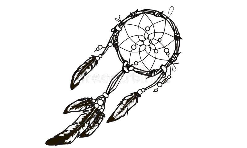 Dreamcatcher fleuri tiré par la main avec des plumes, pierres gemmes WI de carte illustration de vecteur