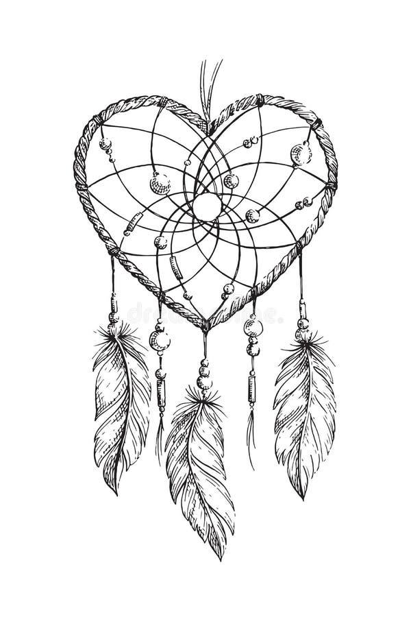 Dreamcatcher-Herzillustration lizenzfreie abbildung