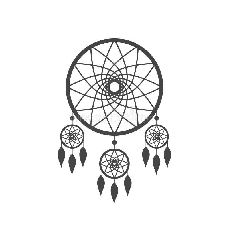 Dreamcatcher ikona odizolowywająca na białym tle Rodowitego Amerykanina hindusa sen łapacza ikona ilustracja wektor