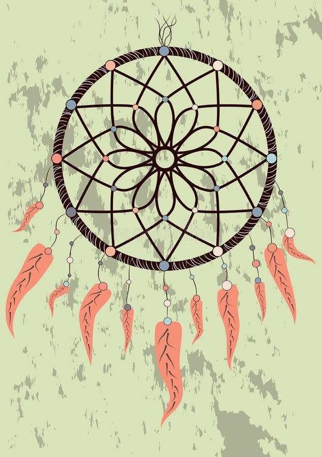 dreamcatcher indiano da talismã do nativo americano ideal do boho do coletor Projeto tribal étnico da roupa imagem de stock