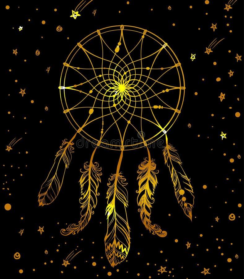 Dreamcatcher indien d'or tiré par la main avec le bea de plumes illustration stock