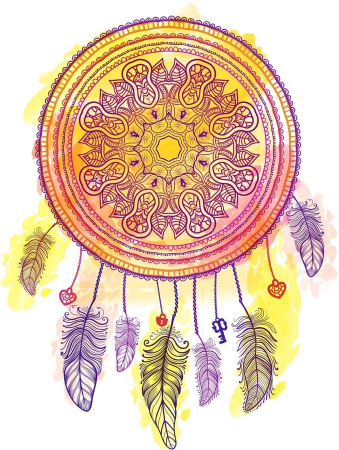 Dreamcatcher indien de talisman Vecteur illustration libre de droits