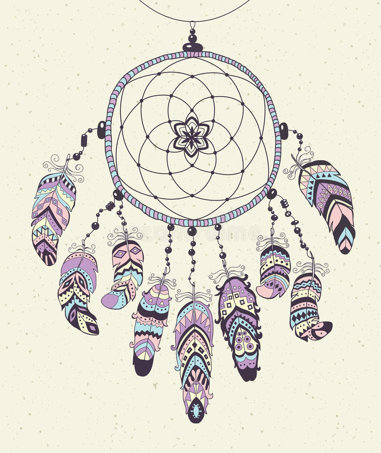 Dreamcatcher indien indigène de talisman avec des plumes illustration stock