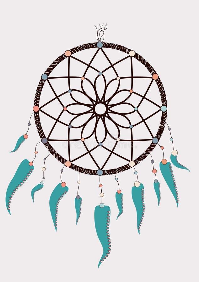 dreamcatcher indien indigène de talisman de boho rêveur de receveur Conception tribale ethnique de vêtements Plumes tribales magi illustration de vecteur
